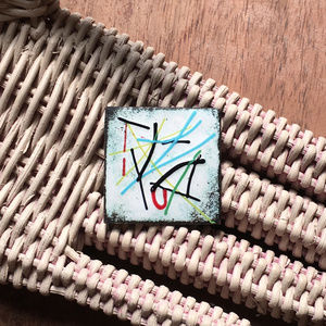 MCM Enamel on Metal Abstract Primary Brooch